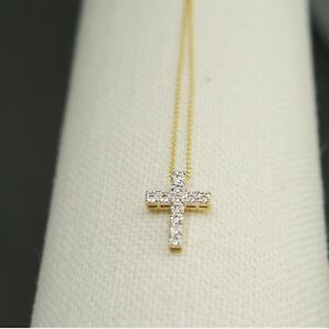 9K-Yellow-Gold-with-11pcs-Natural-Diamonds-Cross-Necklace-Included-9K-Gold-Chain