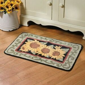 yellow sunflower hooked rug bright kitchen rug small accent floral rug