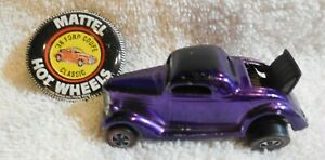 1968 ORIG. MATTEL HOT WHEELS/ REDLINE USA CLASSIC 36 FORD COUPE / PURPLE+ BUTTON