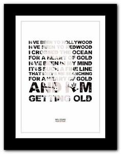 Details About Neil Young Heart Of Gold Song Lyrics Typography Poster Art Print A1 A2 A3