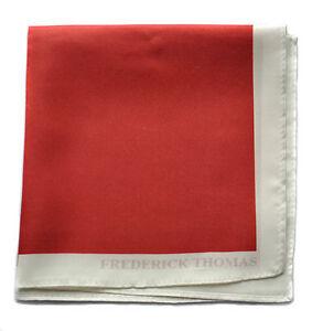 Frederick-Thomas-100-SOIE-Rouge-Poche-Carre-Mouchoir-ft1659