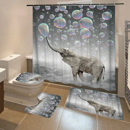 3D Printing Bubbles Elephant Bathroom Shower Curtain Toilet Cover Mat Waterproof
