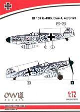 Owl Decals 1/72 MESSERSCHMITT Bf-109G-4/R3 Blue 4 4.(F)/123 Aufklarer