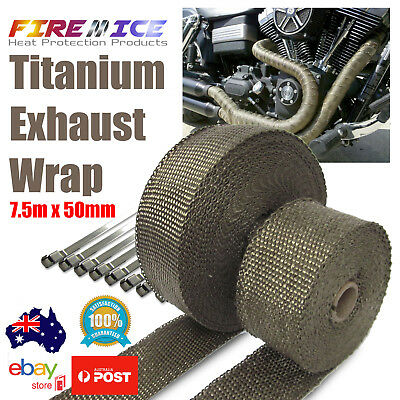 "Subaru 2/"" x 25/' Protection Header Exhaust Heat Wrap Titanium with 8 Steel Ties"