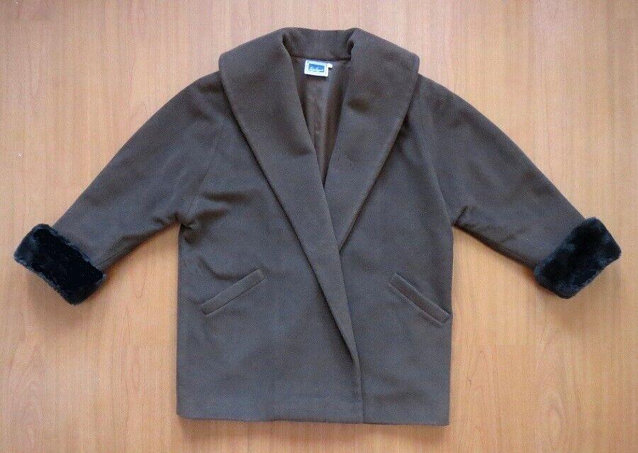 LUISA LUISA LUISA SPAGNOLI Womens Brown Wool Coat L 149634