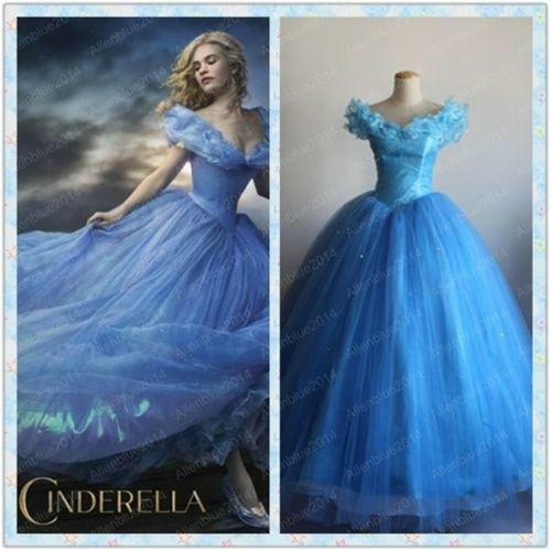 Movie Sandy Princess Cinderella Princess Dress Cosplay Blue Costume Adult Party
