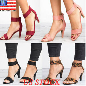 Women-039-s-Mid-Low-Block-Heel-Sandals-Fashion-Ankle-Strap-Work-Smart-Summer-Shoes