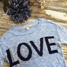 Adam Levine Sweater Love Blue Soft Rayon Womens Juniors Small #403