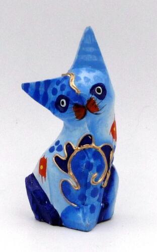 Statuette chat bleu en bois peint peinture or artisanat Bali 9,5 cm