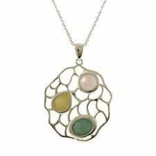 Gold Plated Sterling Silver Semi Precious Jade Necklace Pendant