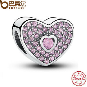 New-Authentic-S925-Sterling-Silver-Sweetheart-Fancy-Pink-CZ-Charm-For-Bracelets