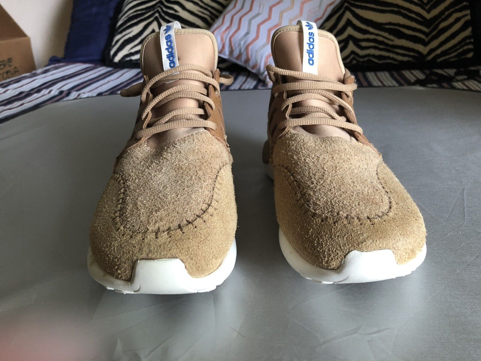 VNDS Adidas Tubular Moc Runner Brown Beige Size 7.5 wheat