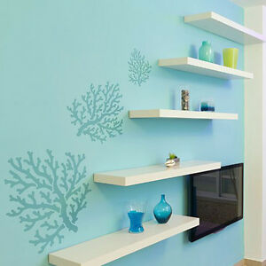 Wall Art Stencils coral wall art stencil - diy beach wall decor stencils - better