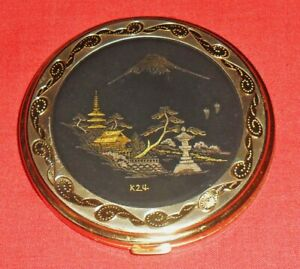 VINTAGE-POWDER-COMPACT-JAPANESE-KOMAI-DAMASCENE-24K-GOLD-AND-SILVER-INLAID