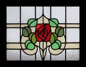 Rare English Art Nouveau Mackintosh Rose Stained Glass Window Ebay