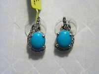 Sleeping Beauty Turquoise & White Topaz Earrings (5.58 Ct) In Platinum Over 925