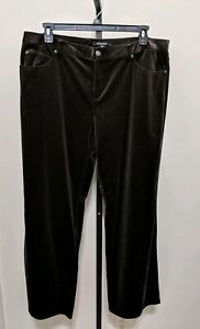Ellen-Tracy-Women-039-s-Plus-Brown-Velvet-Dress-Pants-Size-18-Pockets-Stretch-NEW