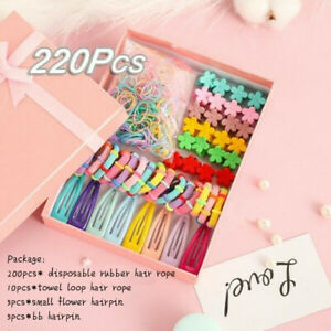 220Pack-Candy-Color-Girls-Hair-Clips-Ropes-Ponytail-Holder-Kids-Hair-Accessories