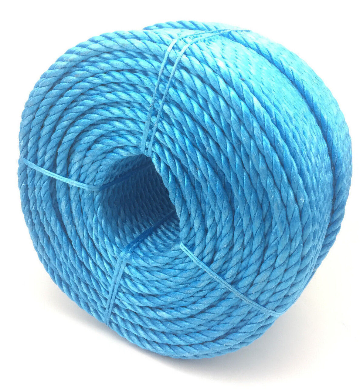24mm Blau Polypropylen Seil X 50 Meter, Poly-Seil Rollen, Preiswert Nylon Seil