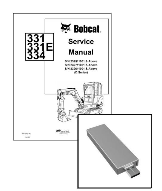 bobcat 331 e, 334 excavator workshop service manual usb stick + download