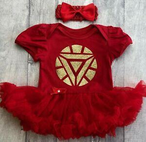 SUPERMAN SUPERHERO TUTU ROMPER Red Gold Glitter Superman Marvel Newborn Blue