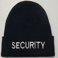 Security Knit Watch Cap/hat White On Navy Blue