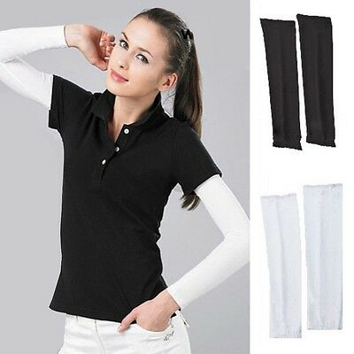 1 pr of Cooling arm sleeves UV Sun Protection White