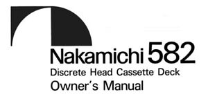 nakamichi 582 cassette deck owners instruction manual ebay rh ebay com Manuals in PDF Manuals in PDF