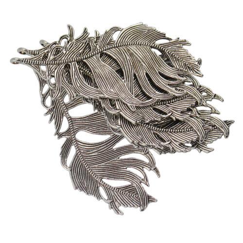 6 Stück Retro Vintage Antik Silber Federn-Charme DIY Schmuck Anhänger