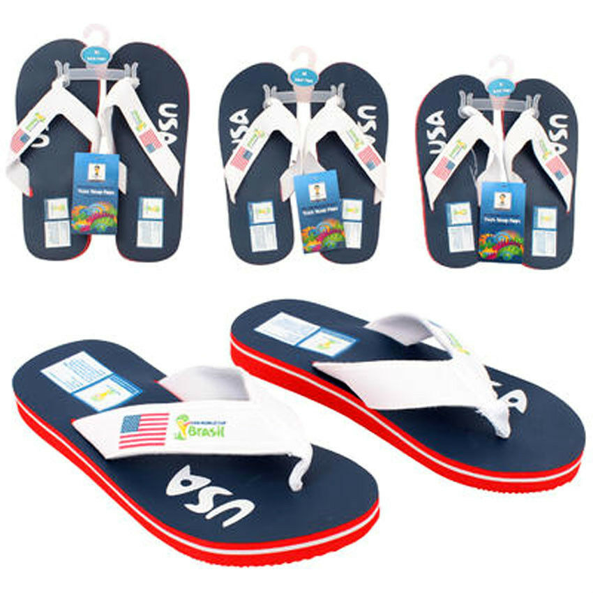 USA Flag FIFA World Cup Brasil Brazil Mens Flip Flop Beach Sandals Slip On Shoes