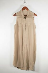 Club Monaco Women's Size 12 Large Beige Dress Sleeveless Silk Button Tank Midi