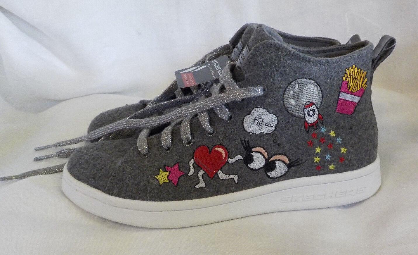 Skechers Street High Top Size 7 M NWT Grey Embroidered Textile Hidden Heel Spark