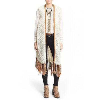 NWT Free People 'Madeline' Long Fringe Vest Retail: $248