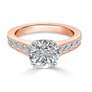 2.25 Ct Round Solitaire Moissanite Anniversary Ring 14K Solid Rose Gold Size 9