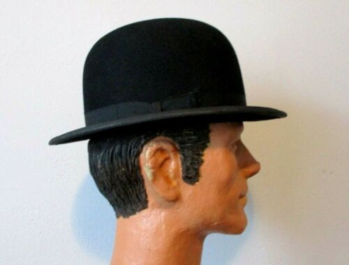 STETSON Antique Derby Bowler Hat 1900s Mens Black