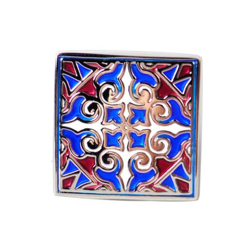 Paar Manschettenknöpfe Manschettenknopf Cufflinks Quadrat Streifen Blau Heiß