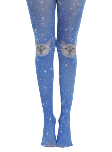 *NEW* Hot Topic Blackheart Blue Galaxy Cat Tights ONE SIZE