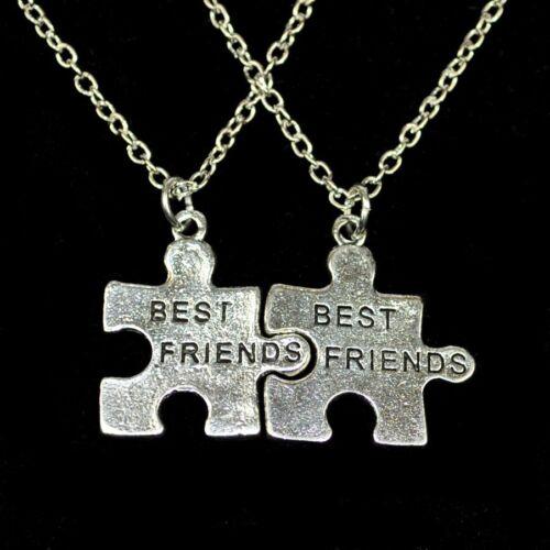 Zwei schicke Freundschaftsketten Partnerkette Anhänger Puzzle Freundschaft Herz