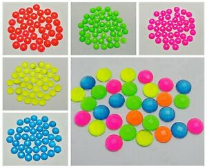 200-Neon-Color-Flatback-Acrylic-Round-Rhinestone-Gems-8mm-No-Hole-Pick-Color