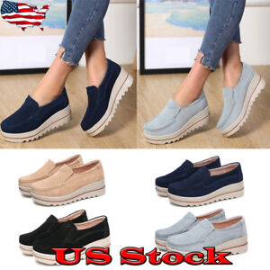 New-Women-Suede-Slip-on-Platform-Block-Wedge-Heel-Shoes-Casual-Sneakers-Loafers