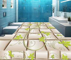 3D Maple Leaf Grid 85 Floor WallPaper Murals Wall Print 5D AJ WALLPAPER UK Lemon