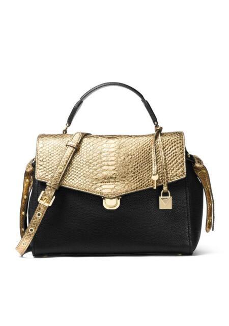 86e6126549b4 MICHAEL Michael Kors Bristol Medium Black Gold Leather Satchel Handbag  Shoulder