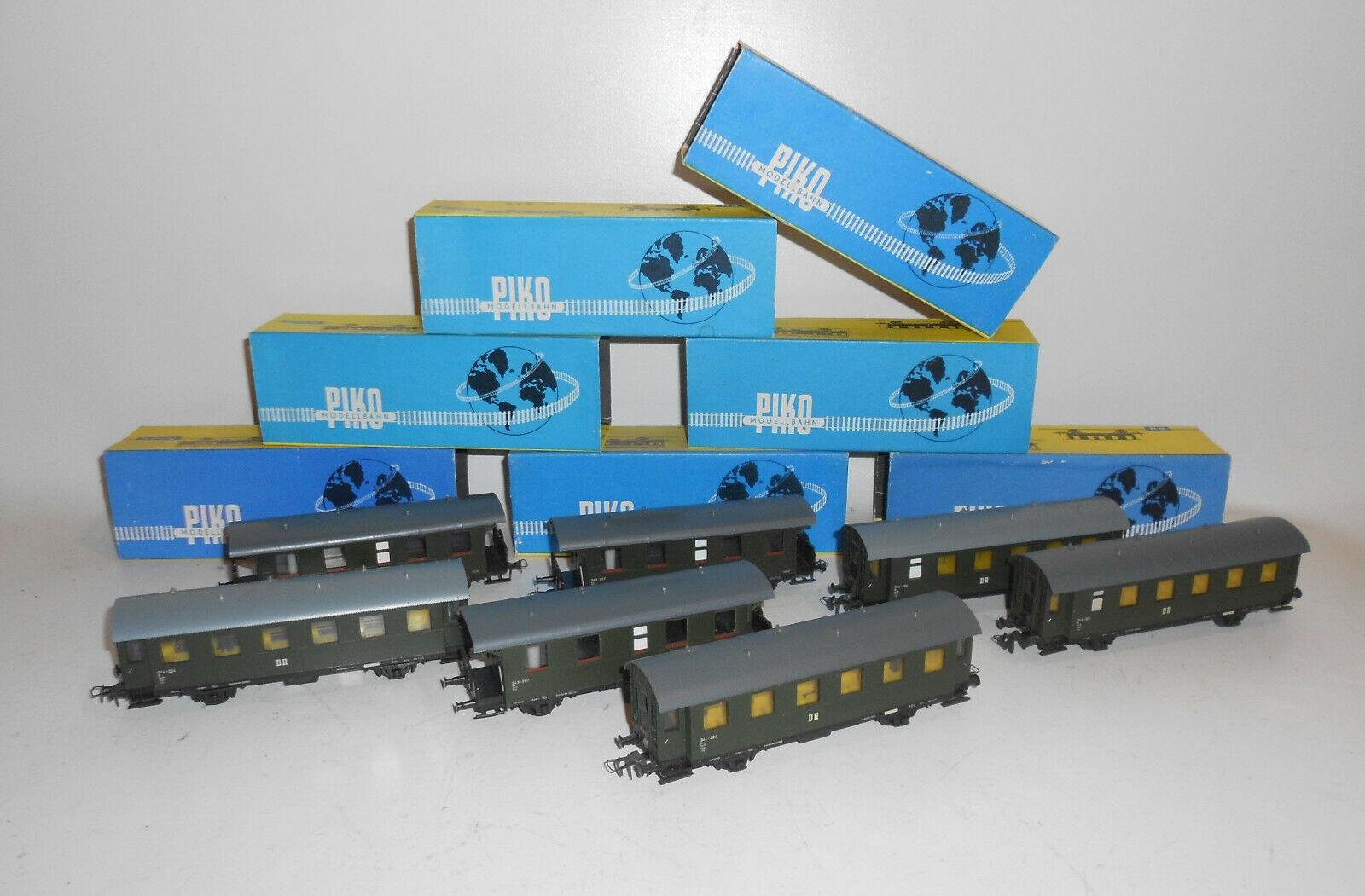 7 x Piko Personenwagen grün Spur H0 mit OVP DDR   (M3    Deutschland Store