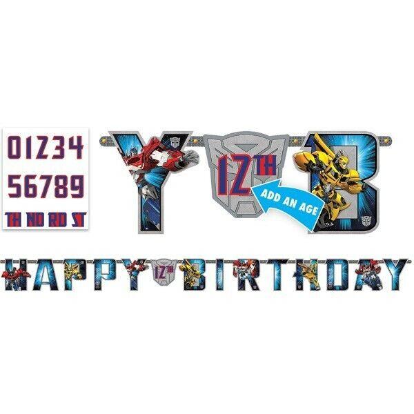 Transformers Party Supplies Happy Birthday Banner Decoration Bumblebee Optimus