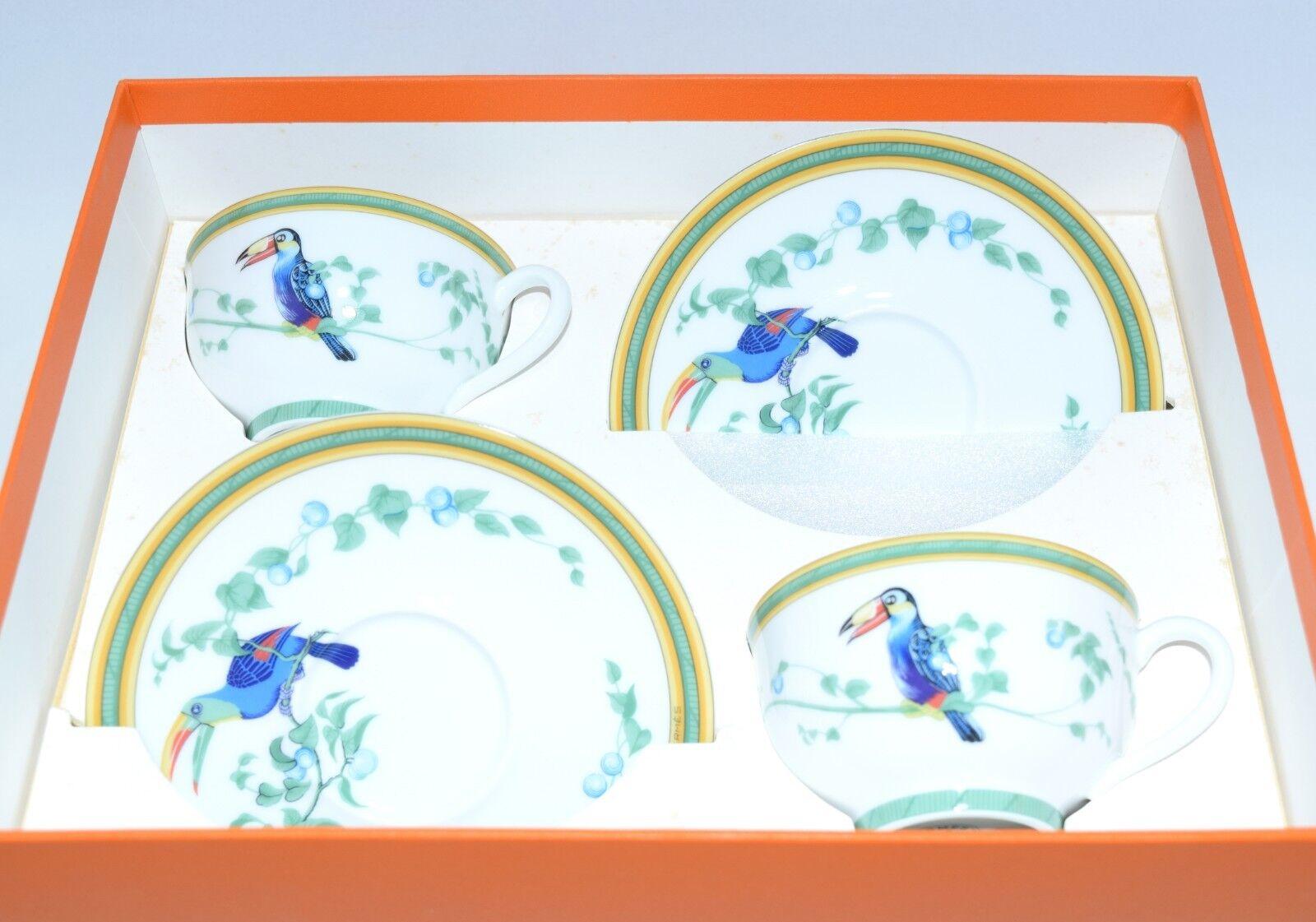 Hermes Toucan Tasse à café et soucoupe 2 Set vert oiseau Dinnerware