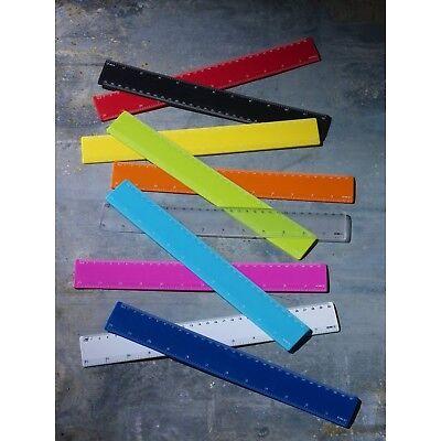 eBuyGB Flexible Plastic Transparent Ruler Red 30 cm