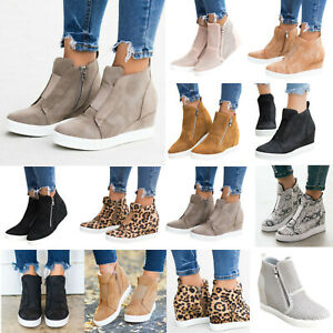 Womens-Hidden-Wedge-Heel-Ankle-Boots-Sneakers-Trainers-Casual-Pumps-Shoes-Size