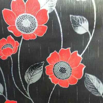 SILVER BLACK RED DESIGNER FEATURE WALL WALLPAPER  FLOWERS 30993