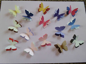 20 3D 2TONE PEARLESCENT SHIMMER Butterfly Confetti Topper White Pink Black