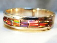 Men's Channel Red Fire Opal & Sterling Ring 10 Sterling Silver 925 Ladies unisex